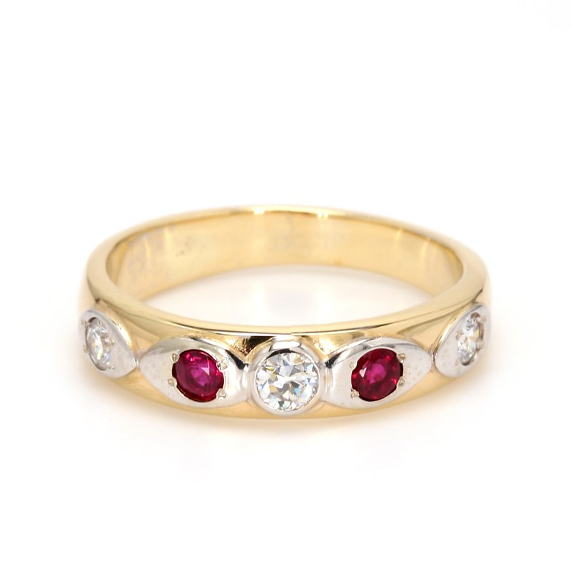 Estate Ruby and Diamond Straight Ring