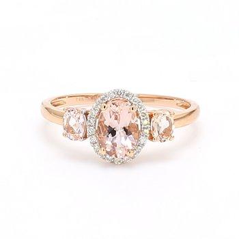 Morganite 3 Stone Ring