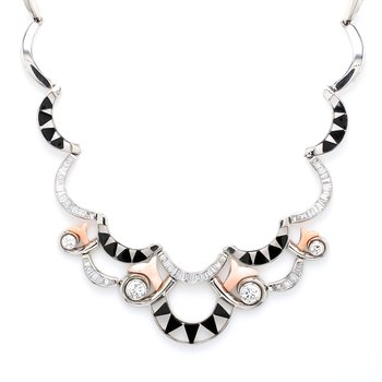 Diamond, Onyx and Coral Bib Necklace