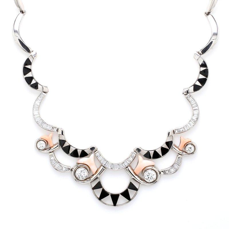 Spicer Greene Diamond, Onyx and Coral Bib Necklace