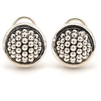 Silver Omega Back Earrings