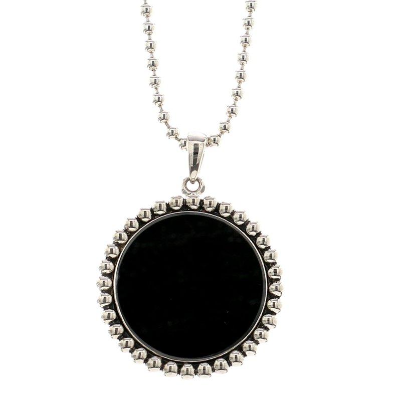 Lagos Black Onyx Circle Pendant