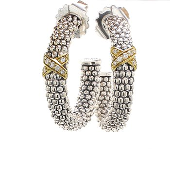 Caviar Diamond Hoop Earrings