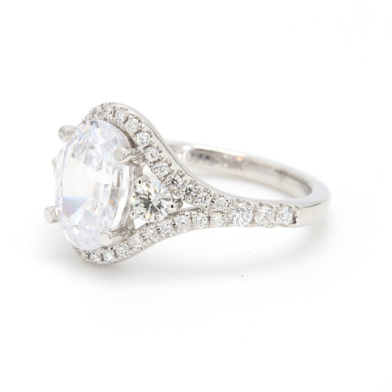 Noam Carver Oval Halo Semi Mount Engagement Ring