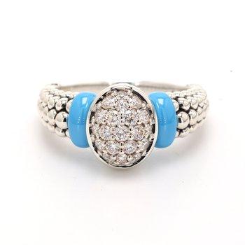 Blue Caviar Diamond Ring