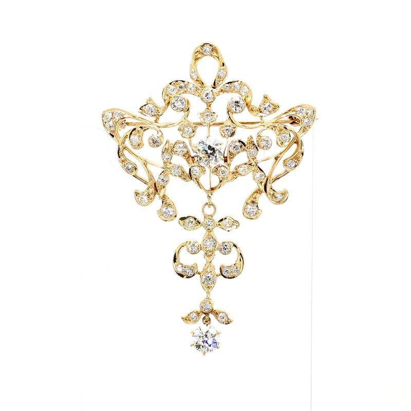 Estate Swirl Diamond Pin