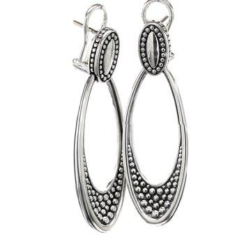 Sterling silver oval drop earr