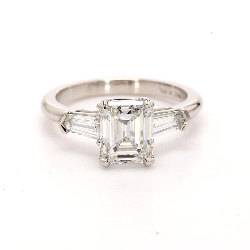Spicer Greene Emerald Cut 3 Stone Engagement Ring