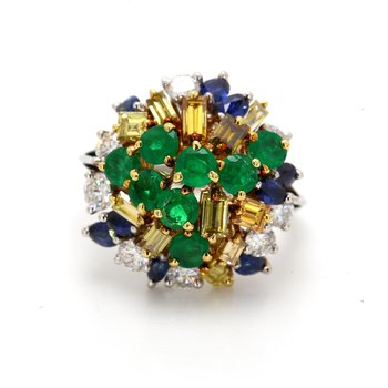 Sapphire & Emerald Cluster Ring