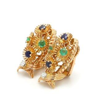 Sapphire Clip On Earrings