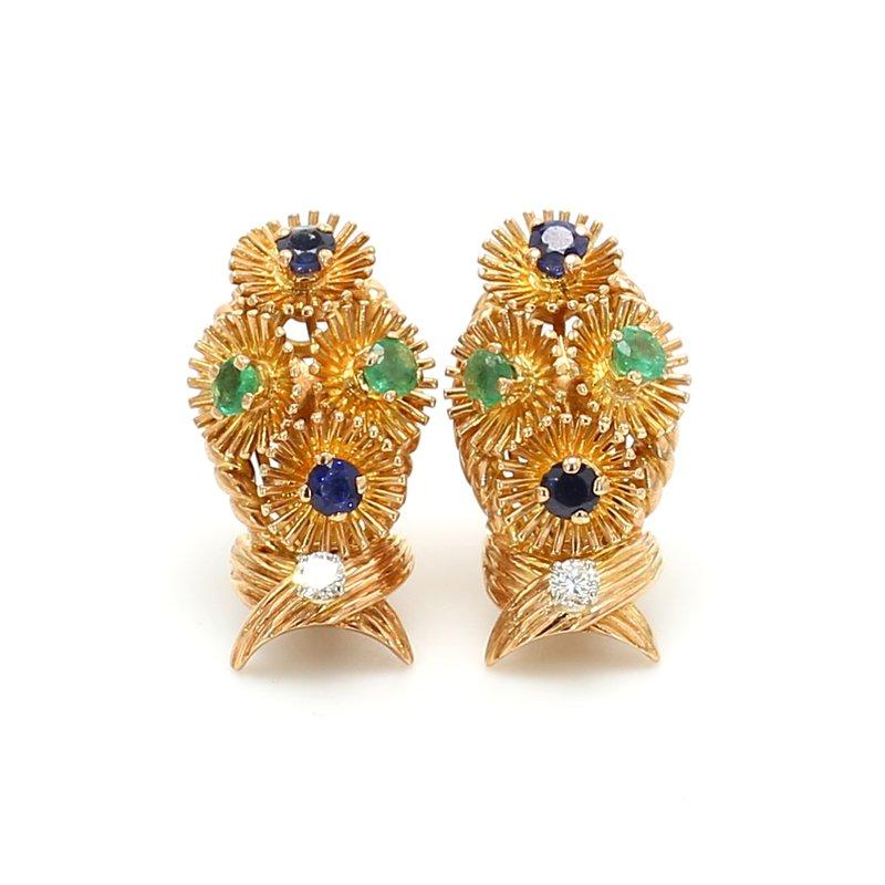 Estate Sapphire Clip On Earrings