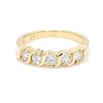 5 Stone Diamond Wedding Band
