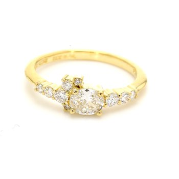 Oval Solitaire with Diamonds Engagement Ring