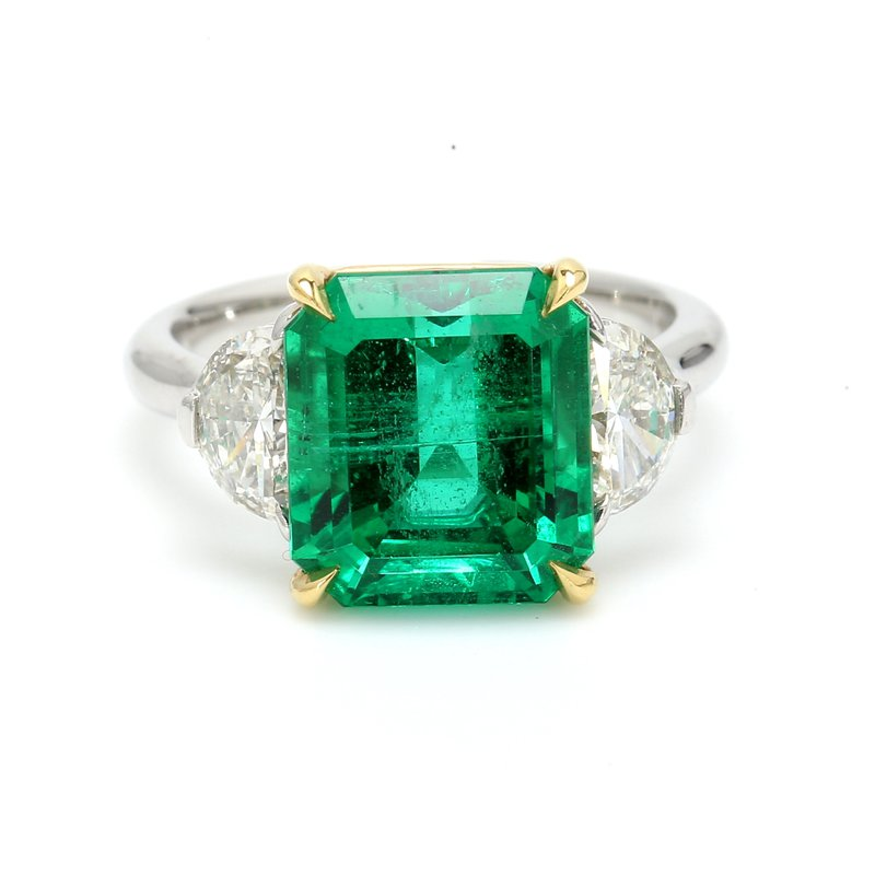 Color by Spicer Greene Emerald 3 Stone Ring