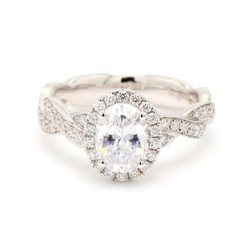 Oval Halo Semi Mount Engagement Ring