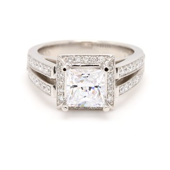 Platinum Halo Semi Mount Engagement Ring
