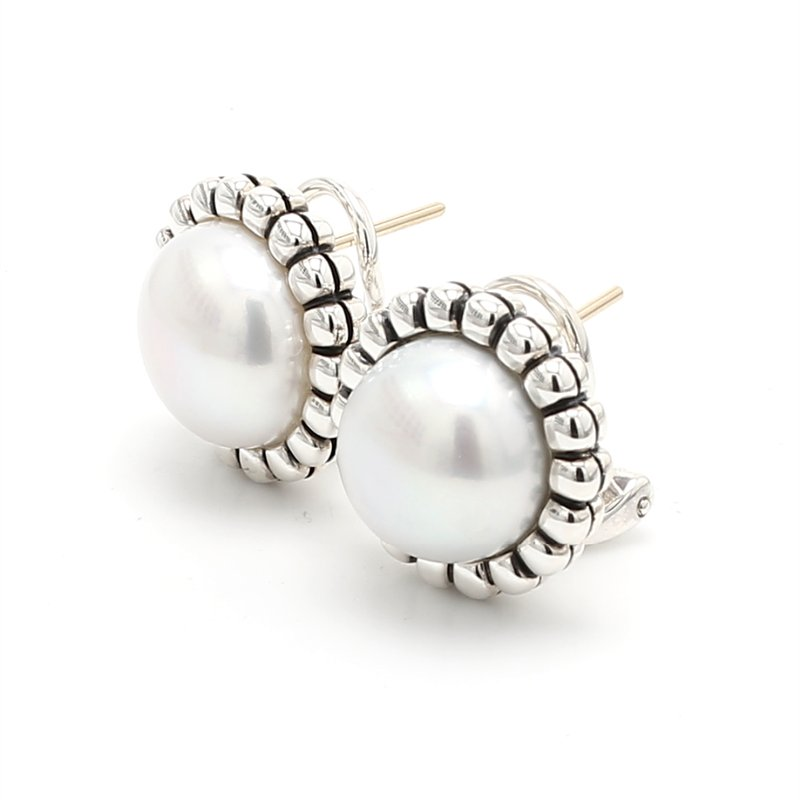 Lagos Freshwater Pearl Omega Earrings