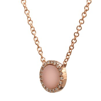 Pink Opal Fixed Pendant Necklace