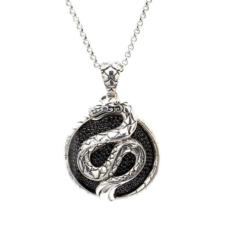John Hardy Black Spinel Snake Pendant