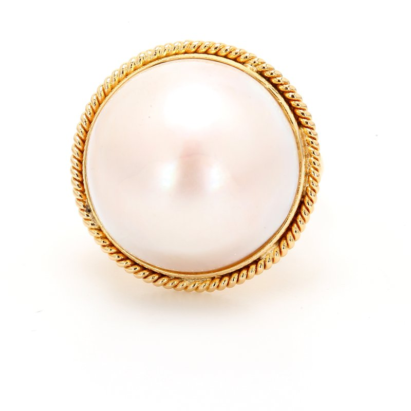 Estate Solitaire Mabe Pearl Ring