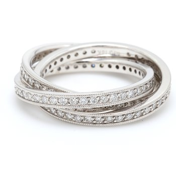 Rolling Diamond Wedding Band