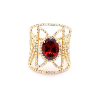 Garnet & Pave Diamond Ring