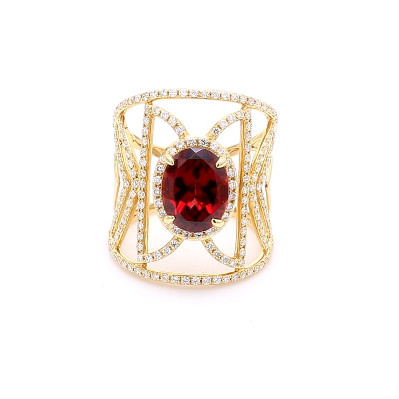 Color by Spicer Greene Garnet & Pave Diamond Ring