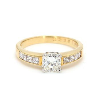Radiant Cut Solitaire with Diamonds Engagement Ring