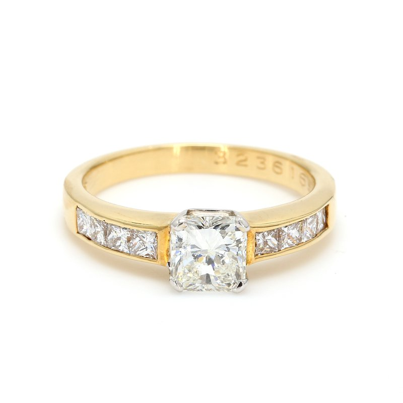 Estate Radiant Cut Solitaire with Diamonds Engagement Ring