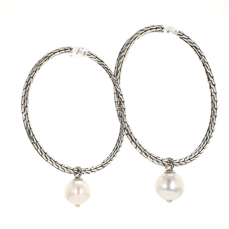 John Hardy Freshwater Pearl Hoop Earrings