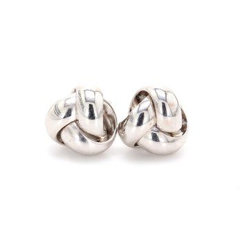 White Gold Love Knot Earrings