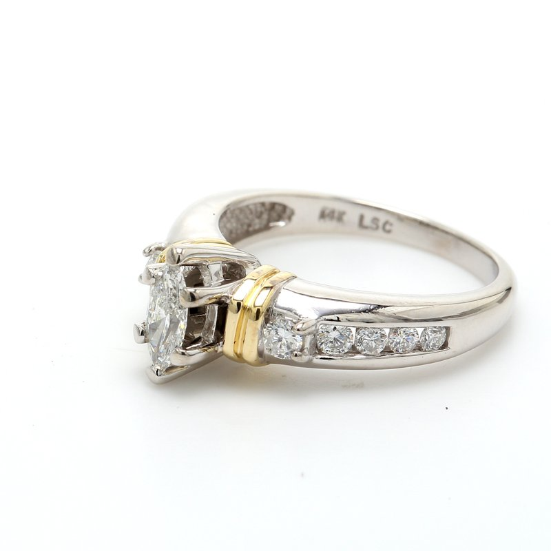 Estate Marquise Cut Solitaire with Diamonds Engagement Ring