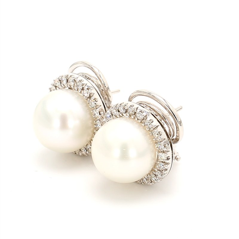 Estate White South Sea Pearl Omega Back Earrings