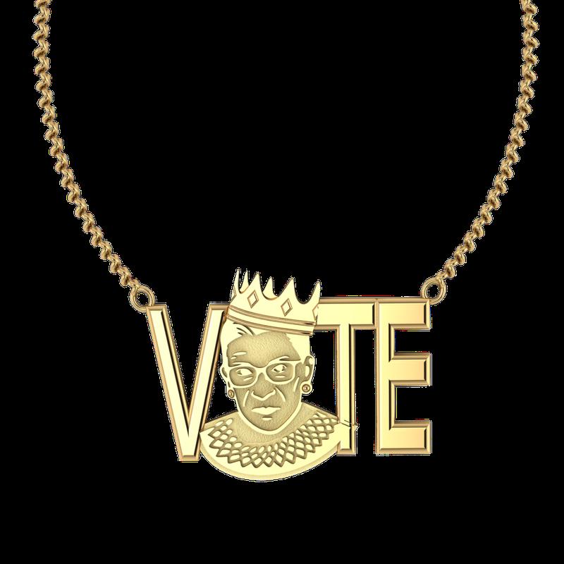"""Spicer Greene RBG """"Vote"""" Pendant (Gold)"""