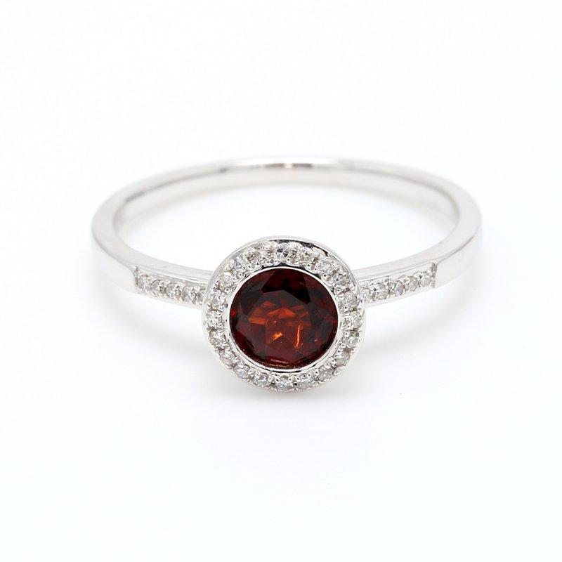 Spicer Greene Garnet Halo Ring