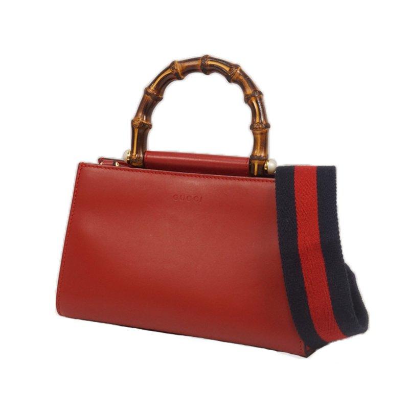 Pre-Owned Luxury Handbags Gucci Mini Nymphaea Bamboo Satchel