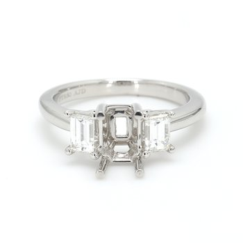 3 Stone Platinum Semi Mount Engagement Ring