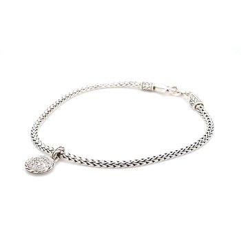 Classic Chain Silver Bracelet with Diamonds