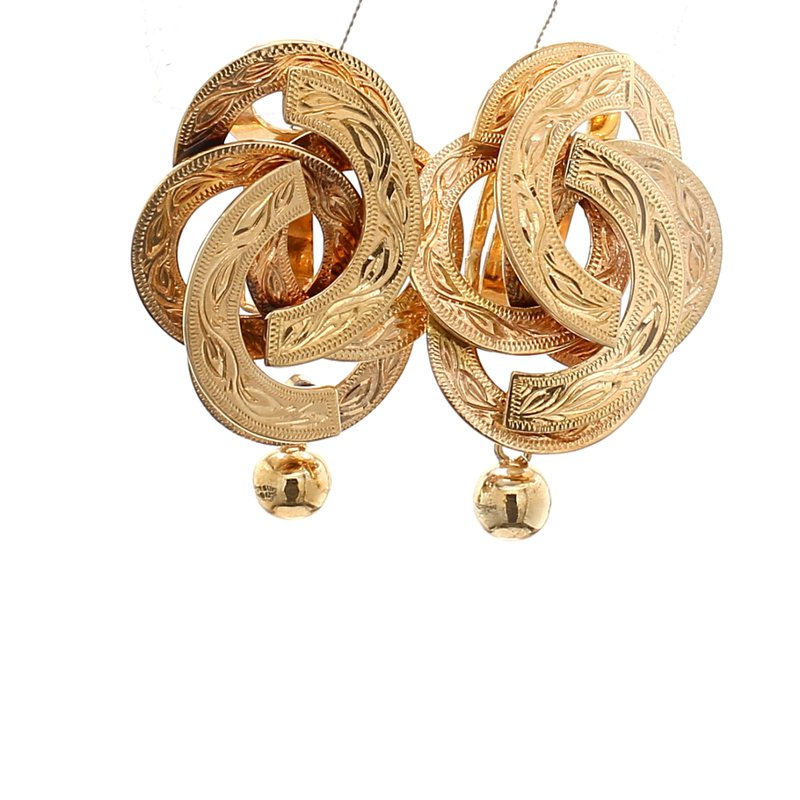 Estate Yellow Gold Clip On Earrings