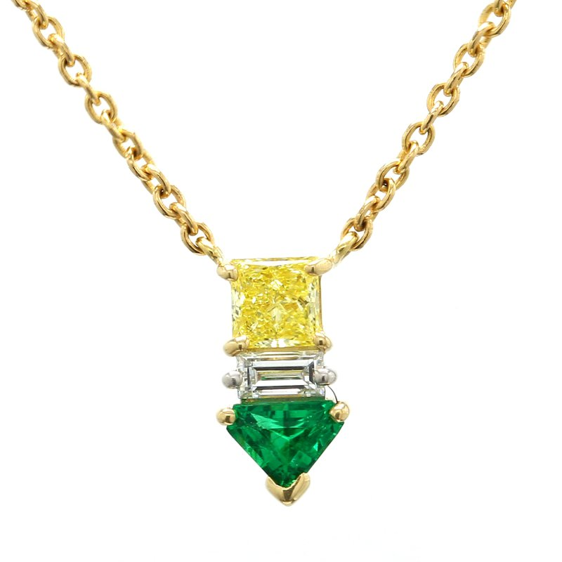 Estate Emerald Fixed Pendant Necklace