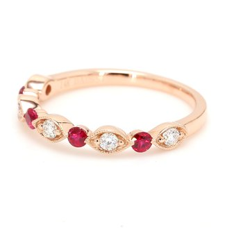 Scalloped Diamond & Ruby Wedding Band