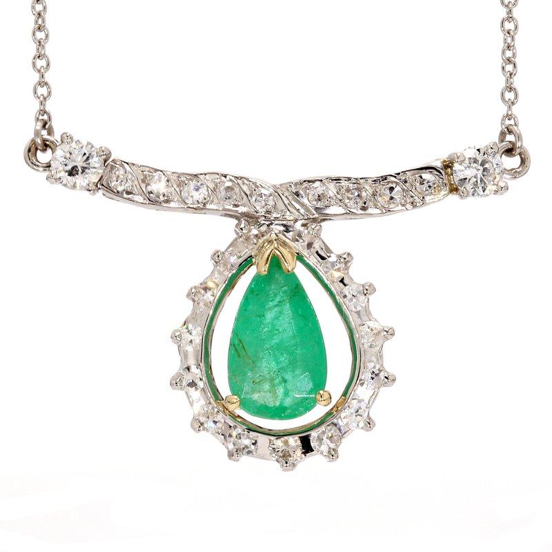 Estate Emerald Fixed Pendant Necklace