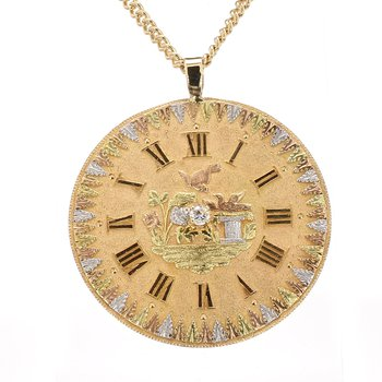 Watch Face Gold Pendant