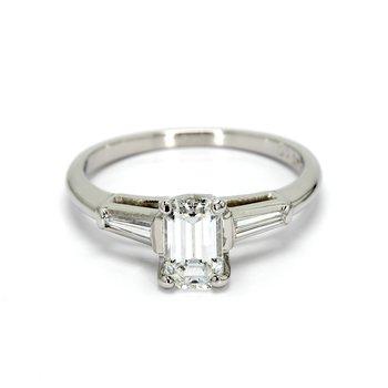 Emerald Cut 3 Stone Engagement Ring