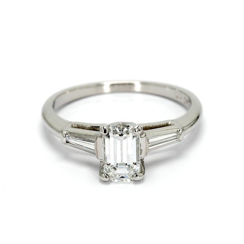 Estate Emerald Cut 3 Stone Engagement Ring