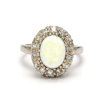White Opal Halo Ring