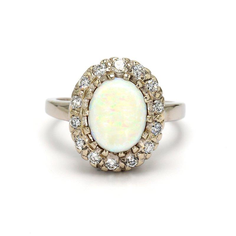 Estate White Opal Halo Ring