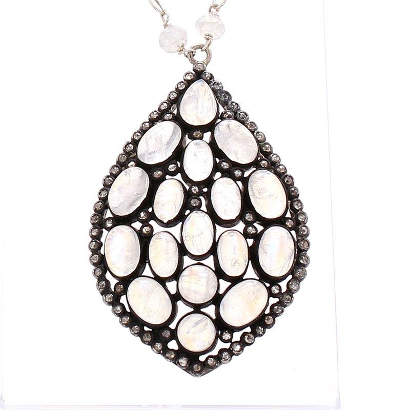 Estate Moonstone Fixed Pendant Necklace