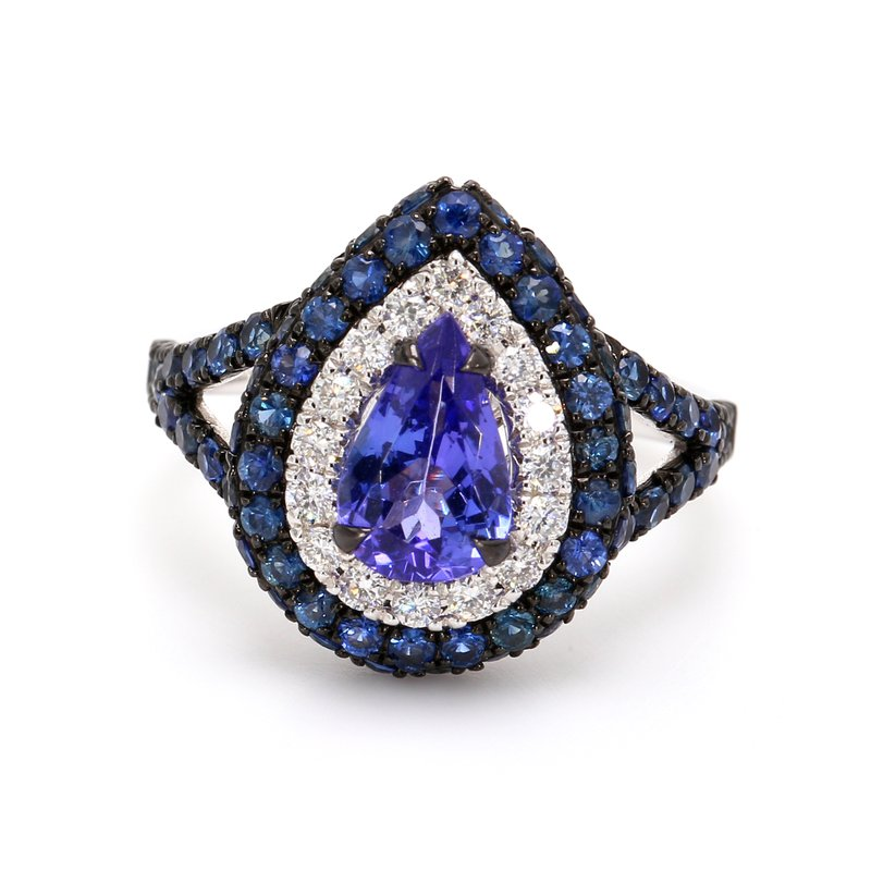 Color by Spicer Greene Tanzanite Halo Ring