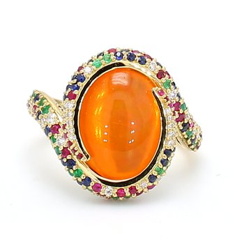 Swirl Fire Opal Ring